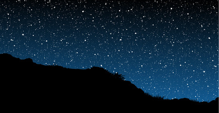 Stars behind Hill Silhouette