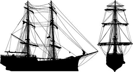 Oud schip geïsoleerd op wit vanuit twee invalshoeken Stock Illustratie