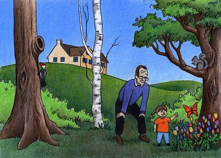 Illustration of Grandpa and Grandson exploring outdoors illustration