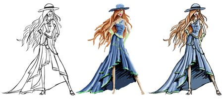 fashion design: Three versions of the same fashion sketch Stock Photo