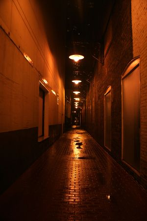 narrow alley at night in downtown Chicago