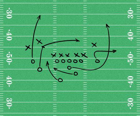 football play: Disegno di un gioco di calcio su un campo di calcio grafica