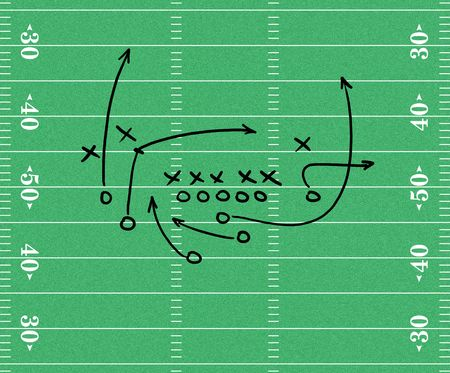 Sketch of a football play over a football field graphic Фото со стока