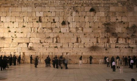 the western wall: Wide angle of Western Wall (aka Wailing Wall) at night