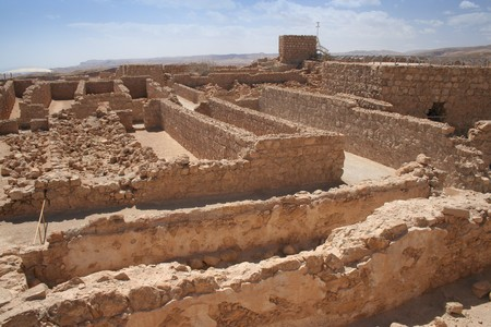 judean hills: A view of the Masada ruins in Israel