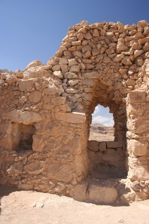 A wall from the Masada ruins in Israel photo