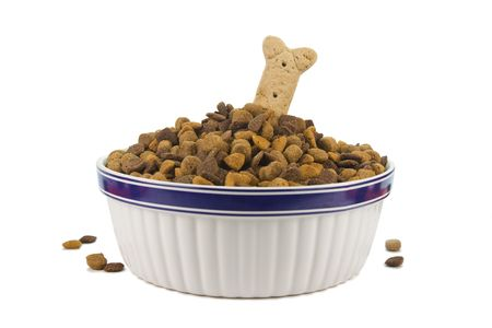 heaping: Heaping pile of dog food with treat on white