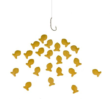 Goldfish crackers eagerly checking out an empty hook (insert your item on hook) photo