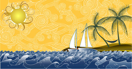 yellow boats: Summer seascape with lots of elements, all organized in layers and easy to edit