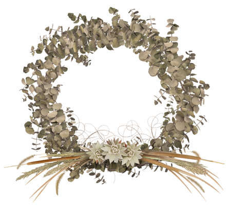 A country-flavor wreath composited from isolated dried branches and grasses.
