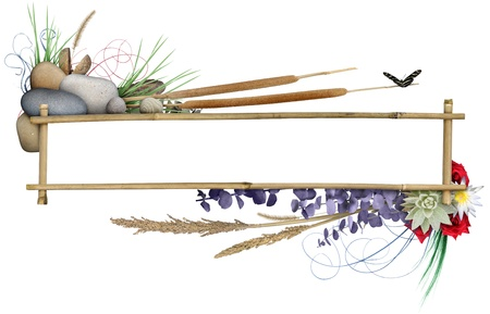Natural elements arranged around a bamboo frame, with a butterfly. Includes