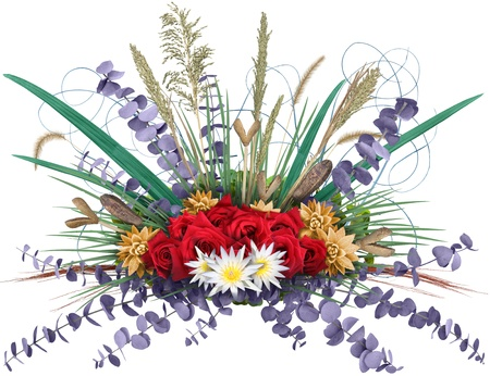 A colorful energetic floral design with varied ornamental grasses and branches radiating from a center flower bouquet, isolated on white. Very high-res.