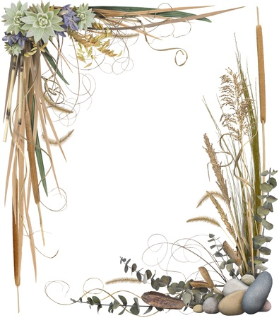 A floral arrangement forming a border frame isolated on white. Very high-res. Corners are separate and can be used individually. Stock Photo