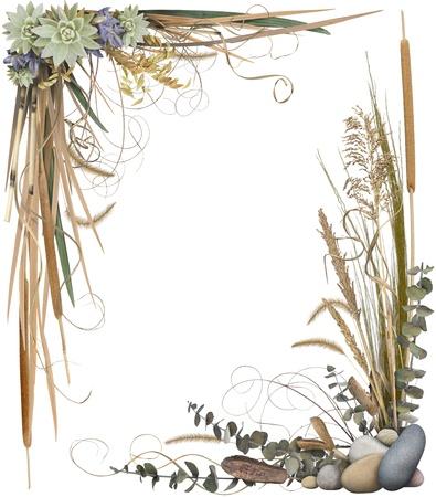 esquineros de flores: Un arreglo floral, formando un marco de frontera aislado en blanco. Las esquinas muy alto-Res est�n separadas y pueden utilizarse de forma individual.
