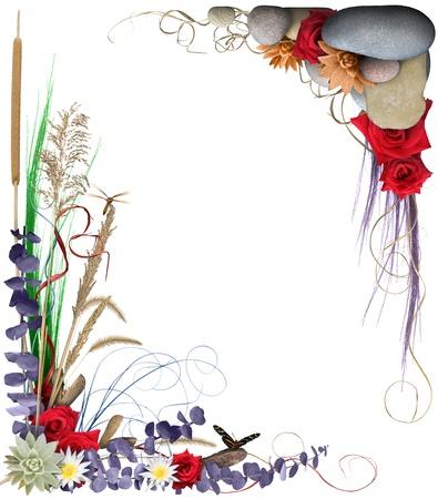 Een kleurrijke bloemen regeling vormen een grenskader geïsoleerd op wit. Lagere linker ontwerp heeft een vlinder en dragonfly. Zeer hoge-res. hoeken zijn gescheiden en individueel kunnen worden gebruikt. Stockfoto