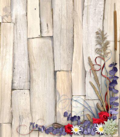 A colorful floral frame over a split wood background Reklamní fotografie