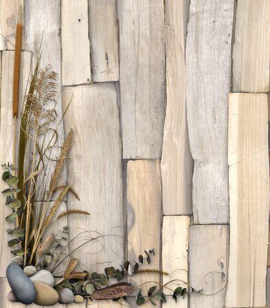 A floral frame over a split wood background