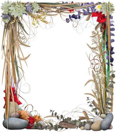 gramineas: Una frontera org�nica con hierbas, piedras y flores, aislados en blanco