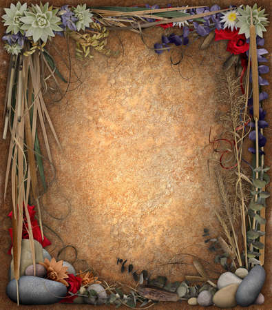 An organic border with grasses, stones, and flowers, surrounding a textured background