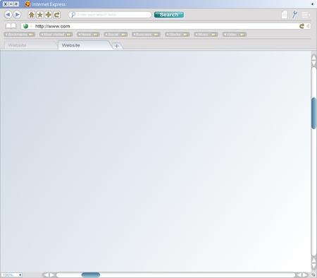 Een valse web browservenster van een fictief bedrijf, compleet met pictogrammen, zoekbalk, url-balk, mappen, schuifbalken, en van labels voorzien doorbladeren