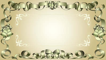 Retro ribbon frame with bows, bells, and an ornamental floral design. Vectores