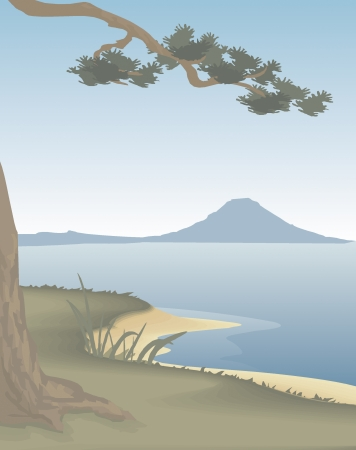 outskirts of the sea with a mountain view Ilustrace