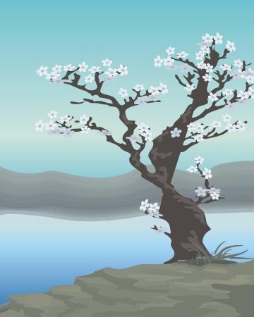 강둑: 풍경 강둑에 나무 아름다운 일러스트