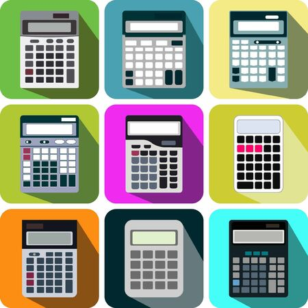 collectibles: nine collection icons calculator Illustration
