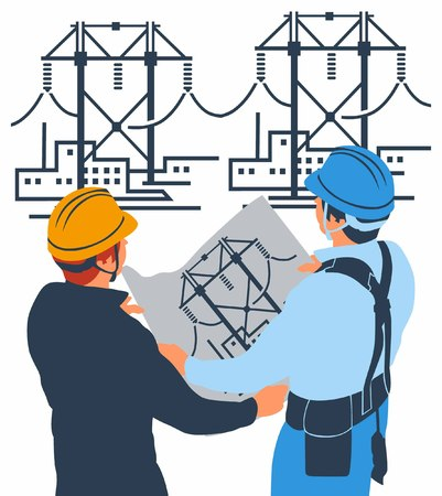 engineering icon: electrical mechanical contractors Illustration