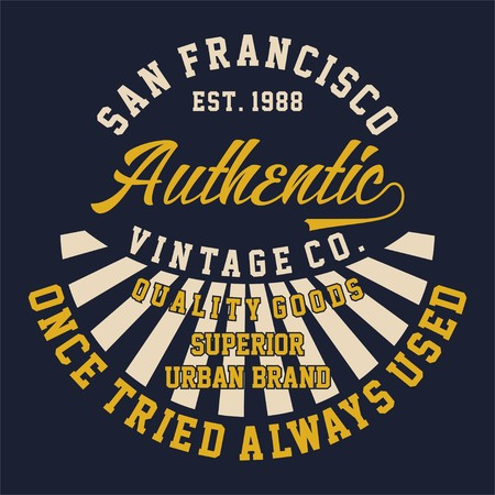 Design alphabet and numbers Graphic SAN FRANCISCO AUTHENTIC VINTAGE for t-shirts 向量圖像