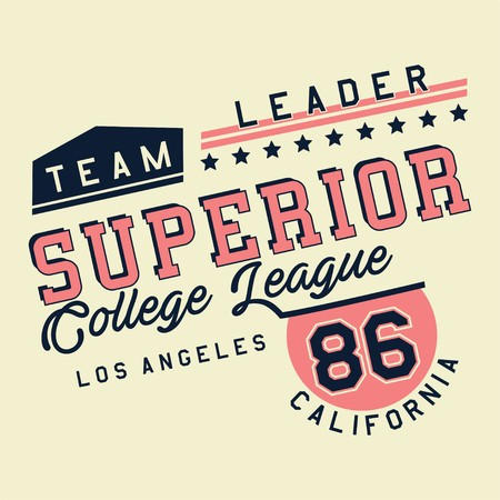 superiors: Design alphabet and numbers Graphic SUPERIOR COLLEGE LEAGUE for t-shirts Illustration