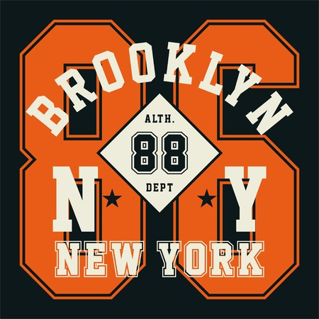 ny: Graphic design alphabet, numbers and typography for shirt and print