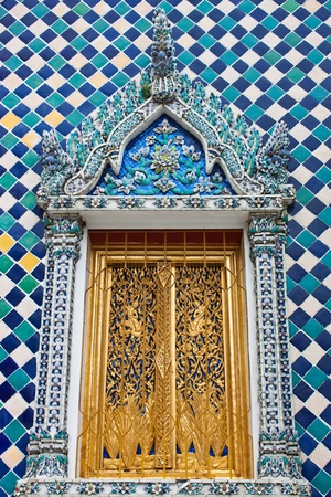 spiritual architecture: Design beautiful Thai temple window Stock Photo