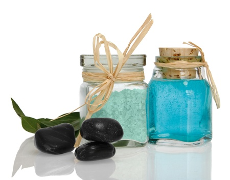 Spa collection with white towel, bath salt, massage oil, mint, isolated on white  Stock Photo