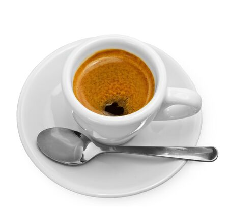 Cup of black coffee on white background