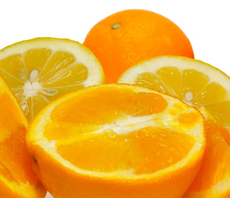 Orange and lemon fruits isolated on white background
