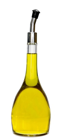 Gourmet olive oil recipient isolated in white background