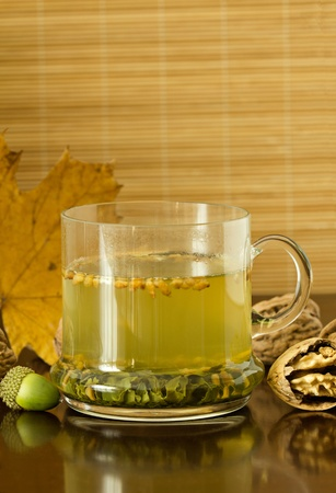 Close-up of green-tea (genmaicha)