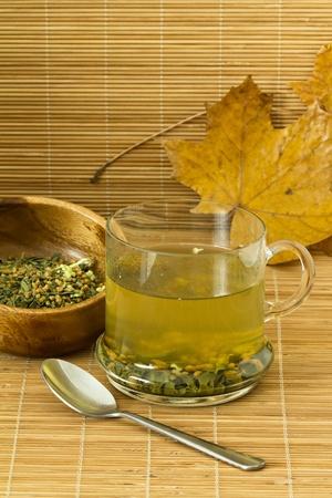 Close-up of green-tea (genmaicha)