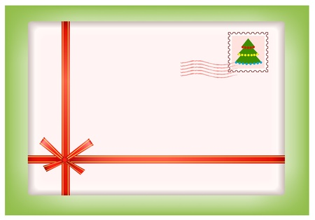 Christmas envelope with ribbon