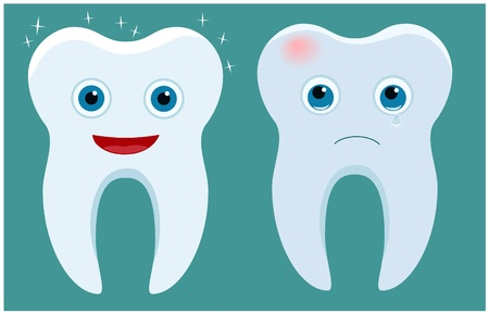 Healthy and ill tooth Illustration
