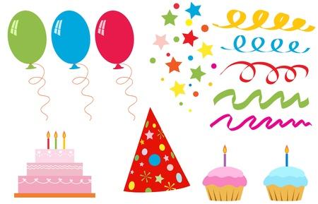 Ensemble d'éléments pour la fête d'anniversaire Vecteurs
