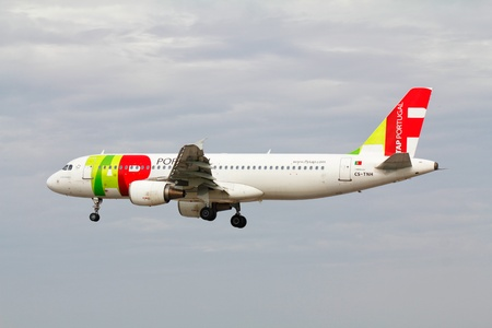 Lisbon Airport, 19 th May 2012  TP Air Portugal Airbus A-320 landing  TP is the national air carrier of Portugal and is one of the safest in the world  Editorial