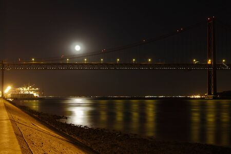 tagus: Tagus river by Night Stock Photo