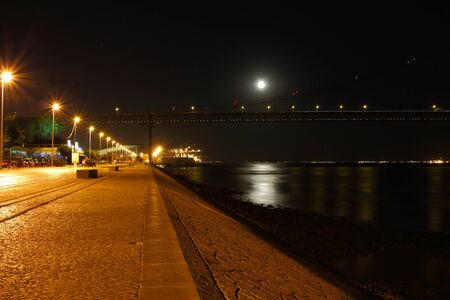 Tagus river by Night Stock Photo