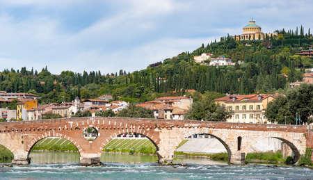 Sanctuary of the Madonna of Lourdes on San Leonardo hill which encircles the Valdonega valley, Verona, Italy, Europe. Popular tourist destinations in Europe.