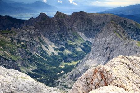 The route to Triglav: the Velo polje and Velska dolina valleys with peaks surround Vodnikov hut: Mali Draski, Veliki Draski vrh, Vernar, Tosc, Miselj vrh (Julian Alps, Triglav National Park, Slovenia)