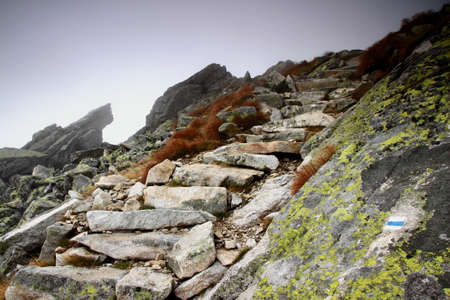 Rough stone stairs on a waymarked trail lead into the unknown in the autumn fog on a rocky mountain slope.