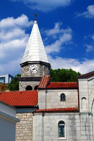 st jamess: Church of Crkva Svetog Jakova or St. Jamess Abbey, the medieval core of the resort town Opatija in a sunny summer day, Istria peninsula, Croatia, Europe Stock Photo