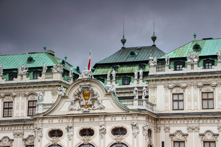 Details of decorated facade and roof of Baroque style Belvedere Palace the former residence for Prince Eugene of Savoy now museum and tourist spot, Vienna, capital city of Austria, Europe